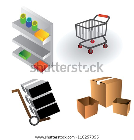 shelves, shipping, box - stock vector