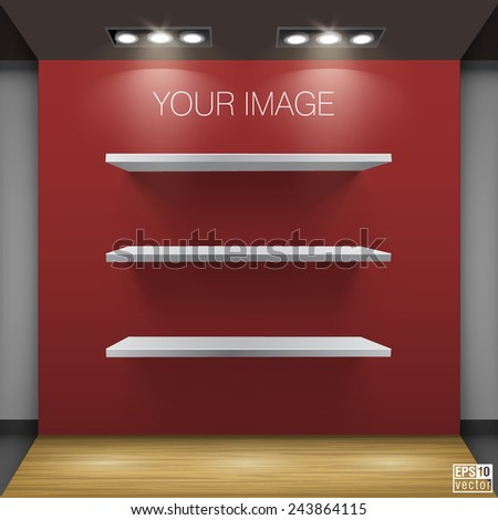 Shelves shop display vector on wall   - stock vector