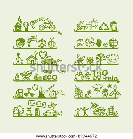 Shelves with ecology icons for your design
