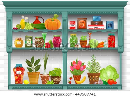shelves with Fresh produce and herb planted in pottery pots. preserved food at home  on background of white bricks wall - stock vector