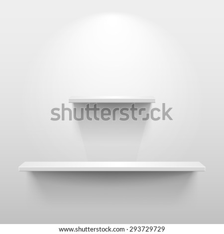 Shelves with light and shadow in empty white room - stock vector
