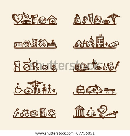 Shelves with medical icons for your design - stock vector