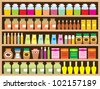 Shelves with products. vector, color full, no gradient - stock photo