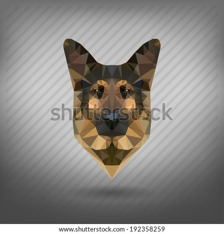 shepherd sheep-dog abstract triangle polygonal - stock vector