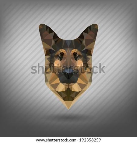 shepherd sheep-dog abstract triangle polygonal - stock vector