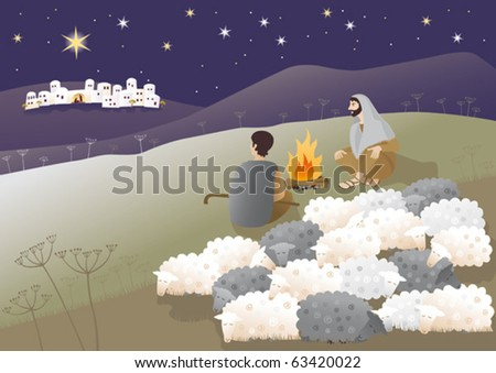 Shepherds are looking what has happened in Bethlehem. Vector illustration. - stock vector
