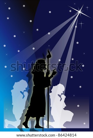 shepherds' illustration with starry blue bottom - stock vector