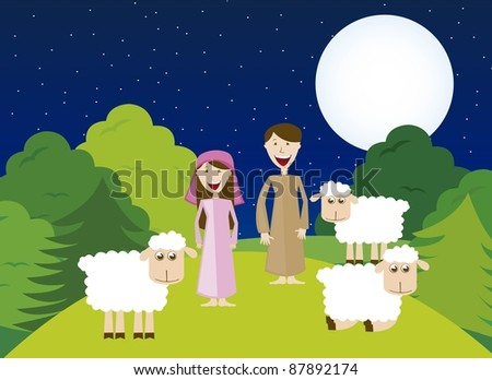 Shepherds with sheeps over night landscape. vector - stock vector