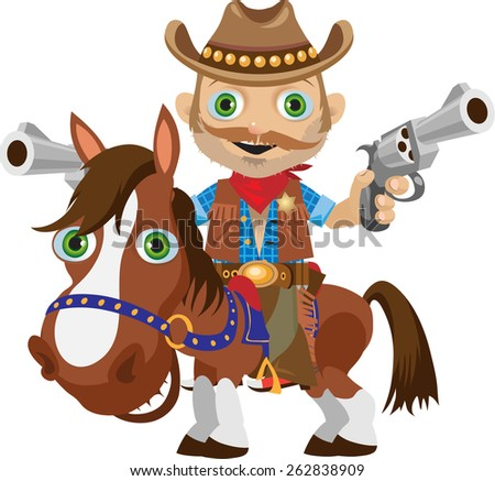 Sheriff hat on a brown horse shows two revolvers - stock vector