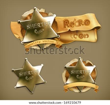 Sheriff, retro icon - stock vector