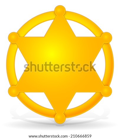 Sheriff's star, badge with shadow - stock vector