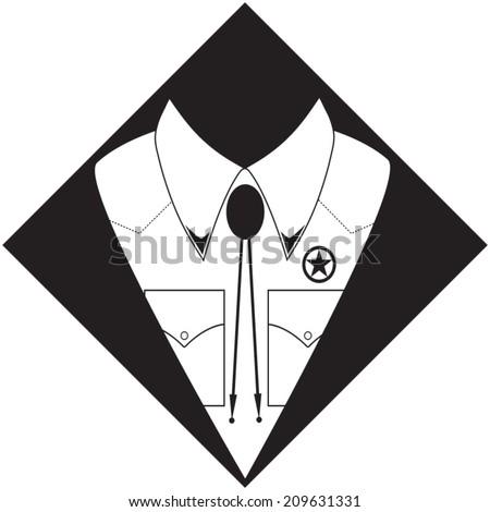 Sheriff shirt silhouette. Hand drawn, vector illustration - stock vector