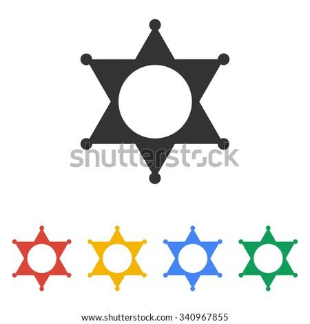 Sheriff star. Flat design style eps 10 - stock vector
