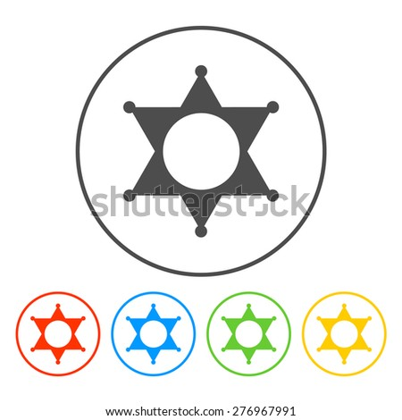 Sheriff star. Flat web icon or sign isolated.