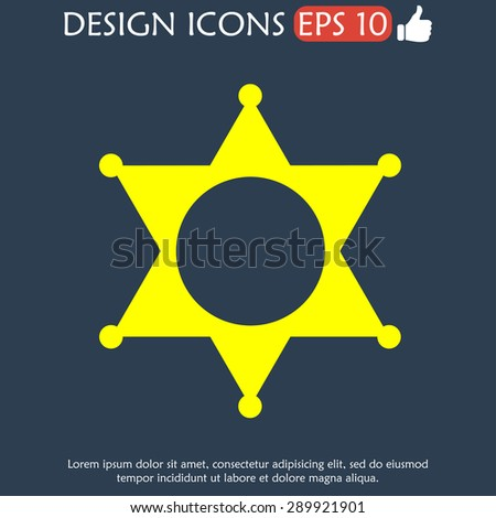 Sheriff star. Flat web icon or sign isolated.  - stock vector