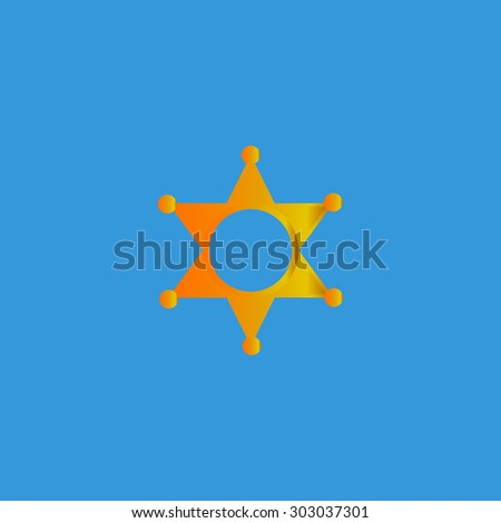 Sheriff star. Flat web icon or sign isolated on grey background. Collection modern trend concept design style vector illustration symbol - stock vector