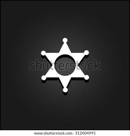 Sheriff star. White flat simple vector icon with shadow on a black background - stock vector