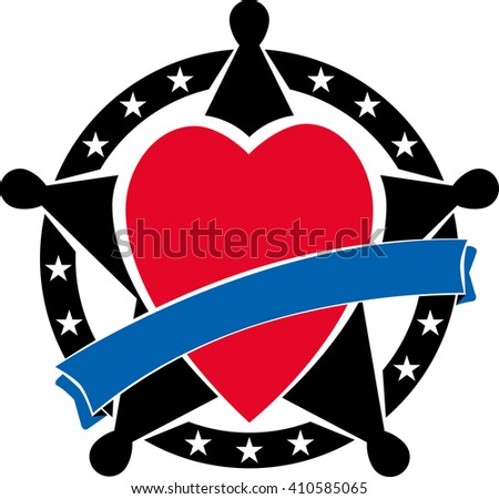 Sherifs badge with heart and blue ribbon over it. Vector illustration - stock vector