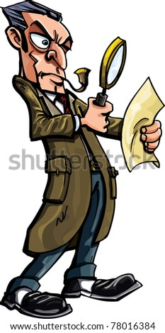 Sherlock Holmes cartoon with pipe. Isolated on white - stock vector