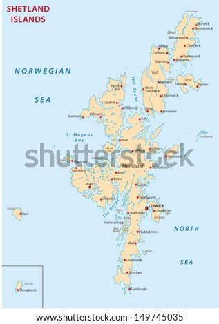 shetland islands map - stock vector