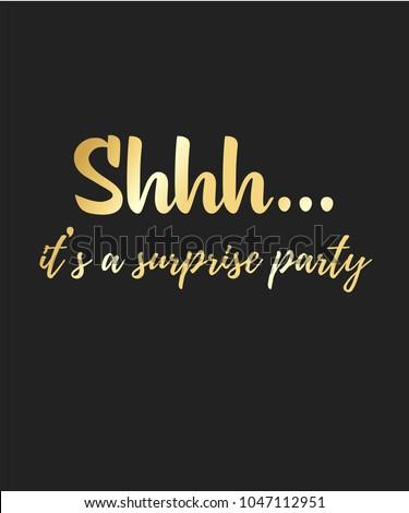 shhh surprise birthday party golden text のベクター画像素材