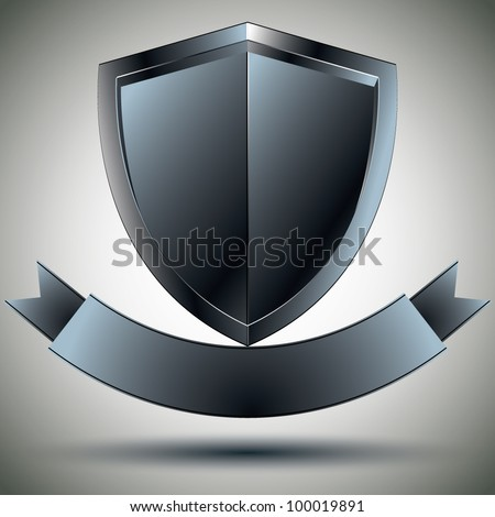 Shield and blank ribbon security symbol, vector design. - stock vector
