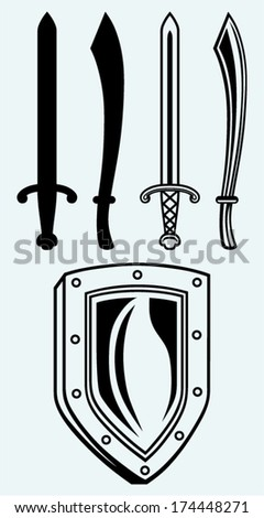 Shield and set dagger isolated on blue background - stock vector