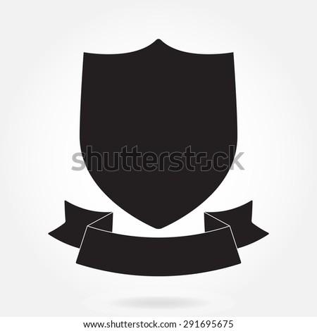 Shield and stylish ribbon isolated on white background. Black shield shape.  Heraldic royal design. Vector illustration. - stock vector