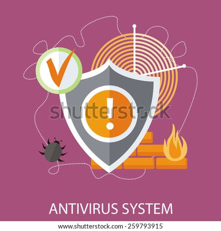Shield antivirus. Antivirus system. Concept in flat design style. Can be used for web banners, marketing and promotional materials, presentation templates - stock vector