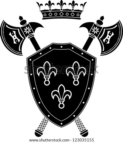 shield, axes and crown. stencil. vector illustration - stock vector