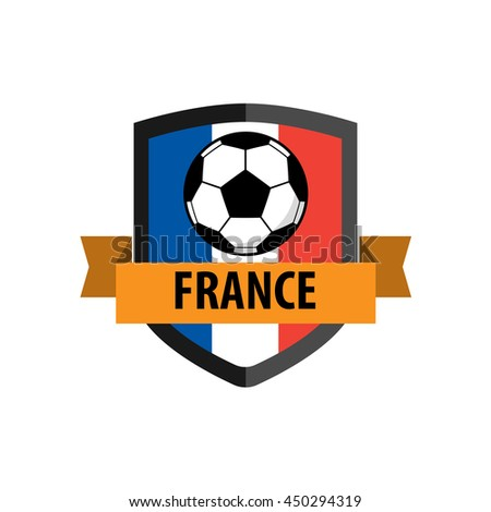 Shield badge with France Nation Flag - stock vector
