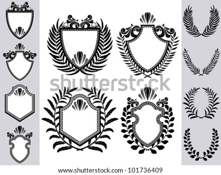 Shield crest with wreath - stock vector
