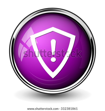 shield danger button - stock vector