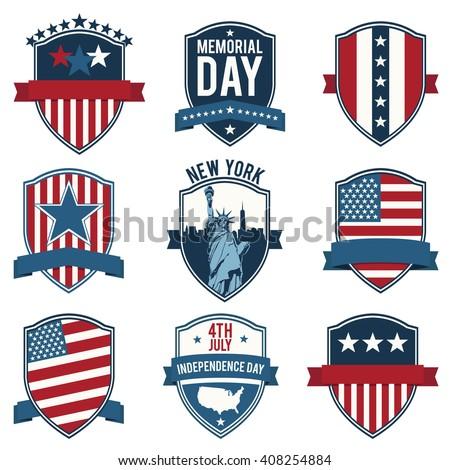 Shield Emblem Us National Symbols Set Stock Vector Royalty Free