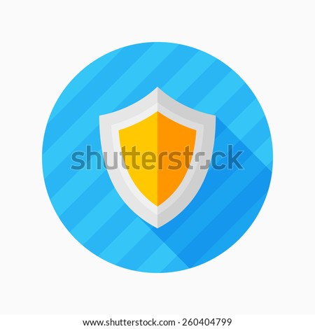 shield flat icon with long shadow on blue circle background , vector illustration , eps10 - stock vector