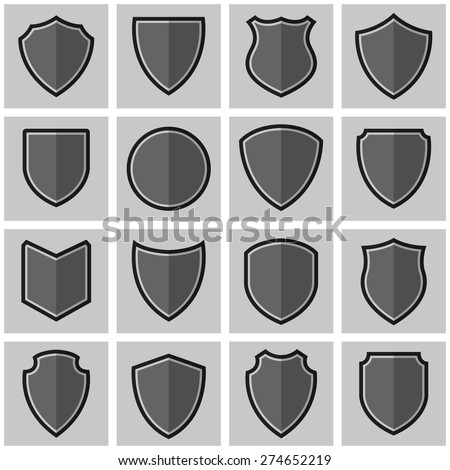 Shield frame Black and white silhouette icon set