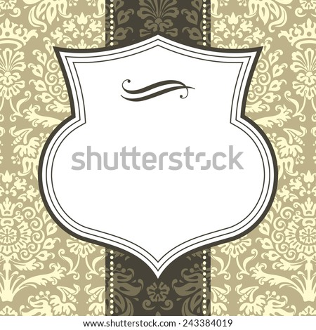 Shield Frame on Damask Background - Shield frame on damask background.  Damask background is behind a clipping mask.  Colors are global, and file is layered for easy editing. - stock vector