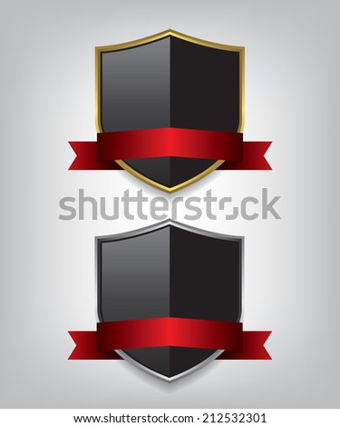 Shield gold and silver with red ribbon illustration - stock vector