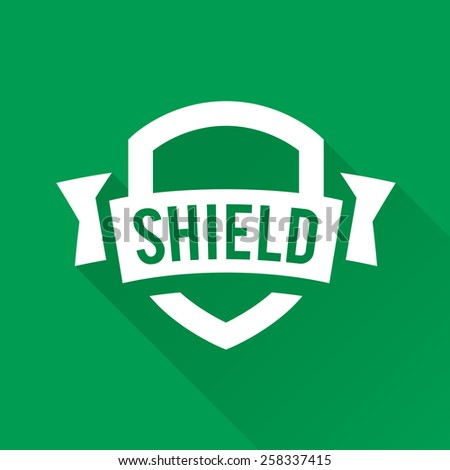 Shield graphic with banner and text logo design - stock vector