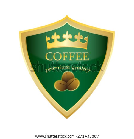 shield icon Coffee premium quality vector illustration - stock vector