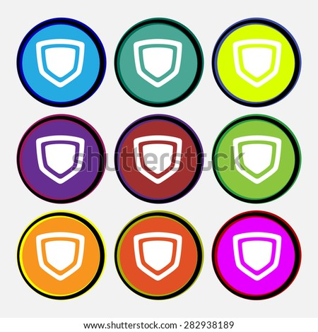 shield  icon sign. Nine multi-colored round buttons. Vector illustration
