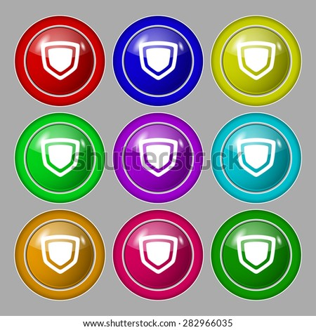 shield icon sign. symbol on nine round colourful buttons. Vector illustration