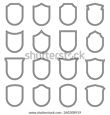 Shield icons set, outlined, black isolated on white background, vector illustration. - stock vector
