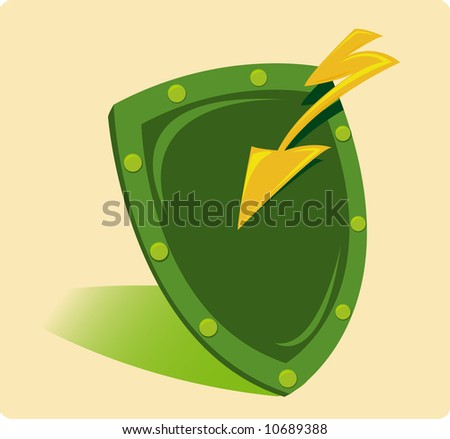 Shield nad lightning illustration - stock vector