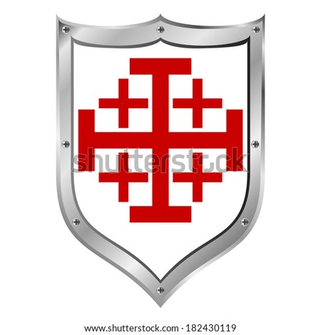 Shield of the Order of the Holy Sepulchre on white background. - stock vector