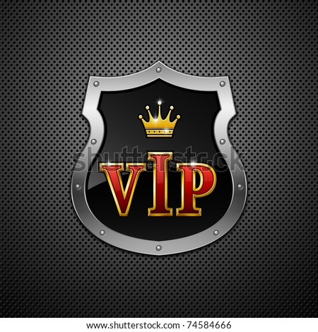 Shield on a metallic background. Vip. Vector illustration. - stock vector