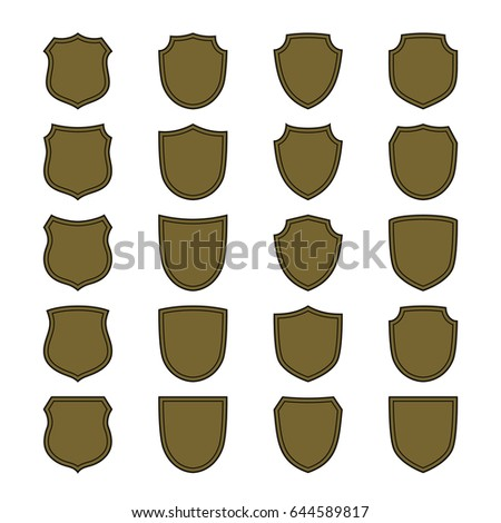 Shield Shape Bronze Icons Set Simple Stock Vector Royalty Free