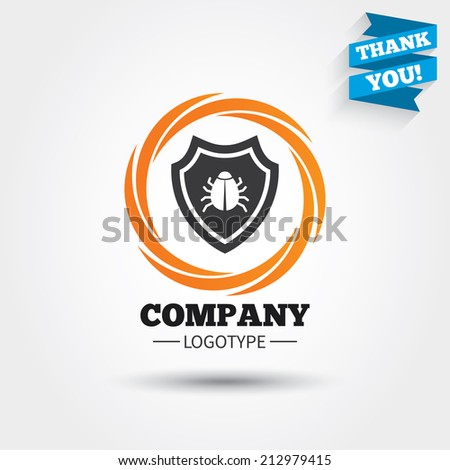 Shield sign icon. Virus protection symbol. Bug symbol. Business abstract circle logo. Logotype with Thank you ribbon. Vector - stock vector