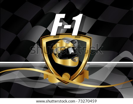 shield vector and helmet of careers of one formulate - stock vector