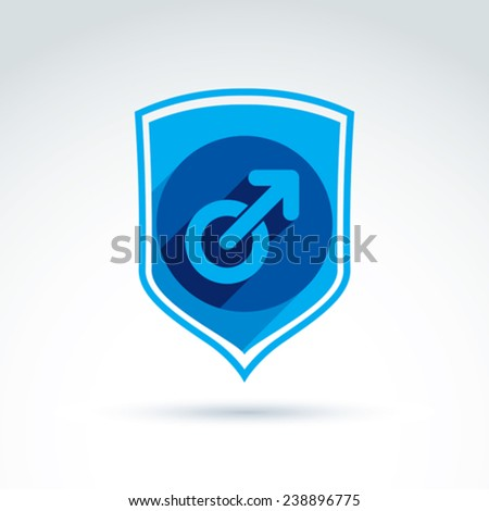 Shield with a blue male sign, male gender symbol. Gay or man club conceptual icon. Chat on a relationship theme, podcast icon. - stock vector